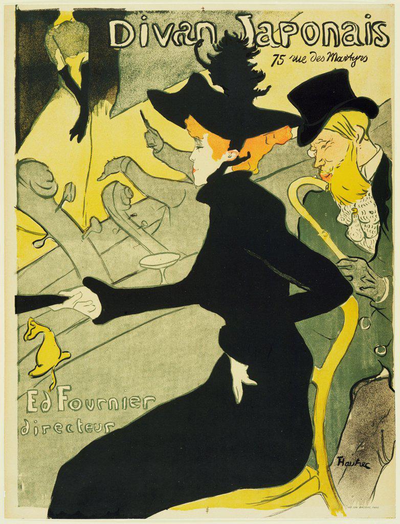Stock Photo: 4266-19029 Divan Japonais (Poster) by Toulouse-Lautrec, Henri, de (1864-1901)/ State A. Pushkin Museum of Fine Arts, Moscow/ 1893/ France/ Colour lithograph/ Postimpressionism/ 79,5x59,5/ Poster and Graphic design