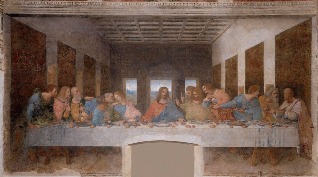 Stock Photo: 4266-19035 The Last Supper by Leonardo da Vinci (1452-1519)/ Santa Maria delle Grazie, Milan/ 1495-1498/ Italy, Florentine School/ Fresco-secco/ Renaissance/ 460x880/ Bible