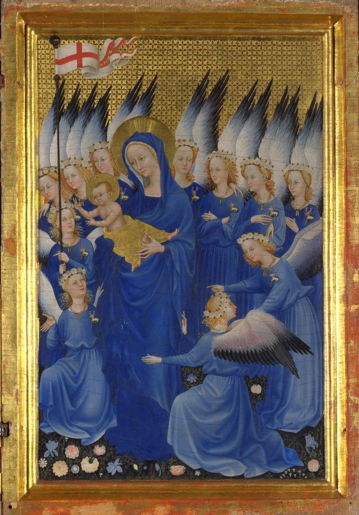 Stock Photo: 4266-19043 Virgin and Child with Angels (The right inside panel of the Wilton Diptych) by Wilton Master (active 1395 - 1399)/ National Gallery, London/ Between 1395 and 1399/ England/ Tempera on panel/ Medieval art/ 47,5x29,2/ Bible