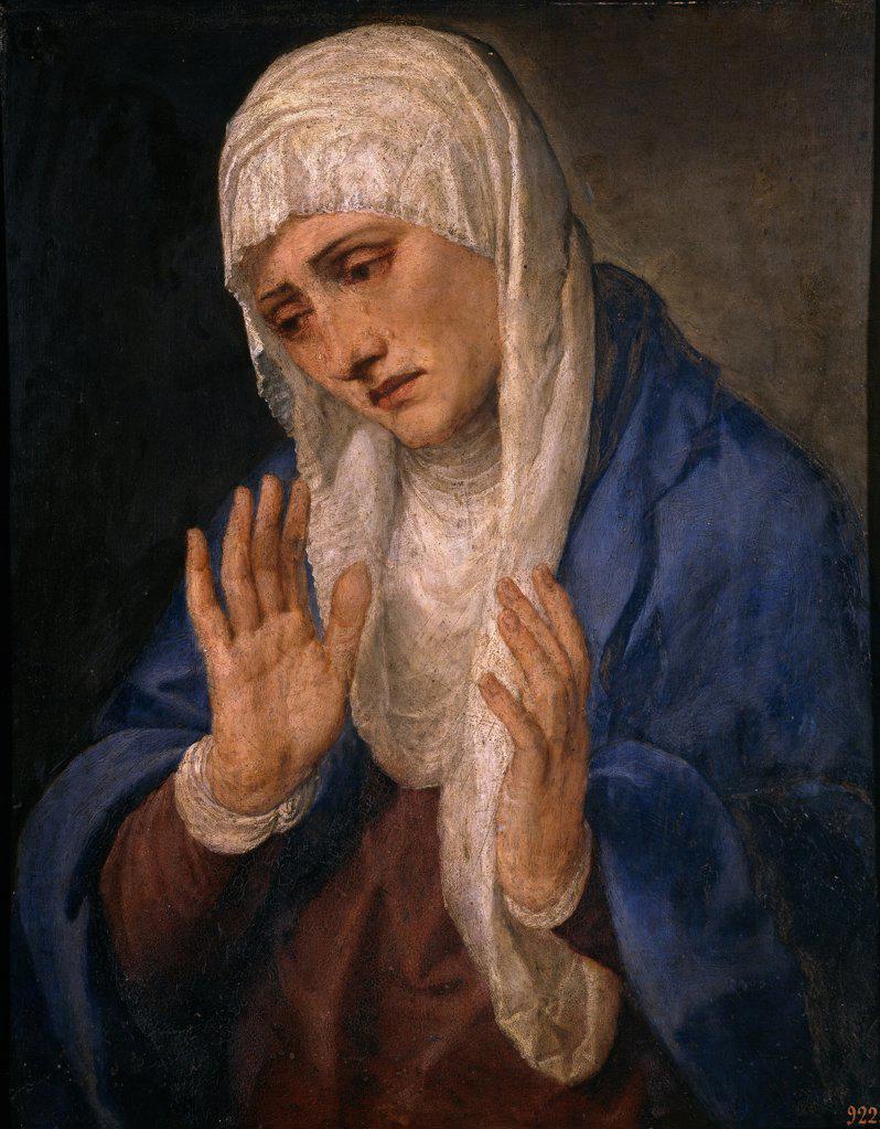 Stock Photo: 4266-19048 Mater Dolorosa by Titian (1488-1576)/ Museo del Prado, Madrid/ 1554/ Italy, Venetian School/ Oil on marble/ Renaissance/ 68x53/ Bible