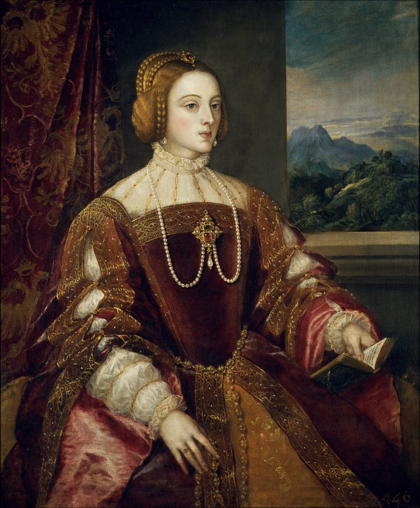 Stock Photo: 4266-19052 Portrait of Isabella of Portugal (1503_1539), wife of Holy Roman Emperor Charles V by Titian (1488-1576)/ Museo del Prado, Madrid/ 1548/ Italy, Venetian School/ Oil on canvas/ Renaissance/ 117x93/ Portrait