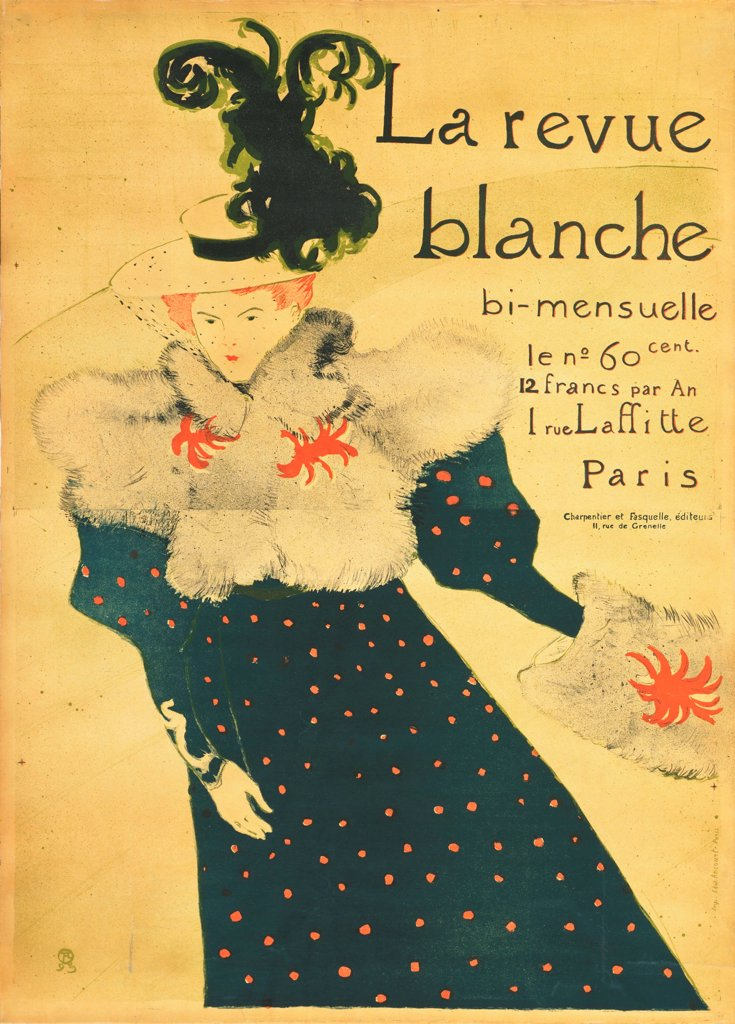 Stock Photo: 4266-19058 La Revue Blanche (Poster) by Toulouse-Lautrec, Henri, de (1864-1901)/ State A. Pushkin Museum of Fine Arts, Moscow/ 1896/ France/ Colour lithograph/ Postimpressionism/ 130x95/ Poster and Graphic design