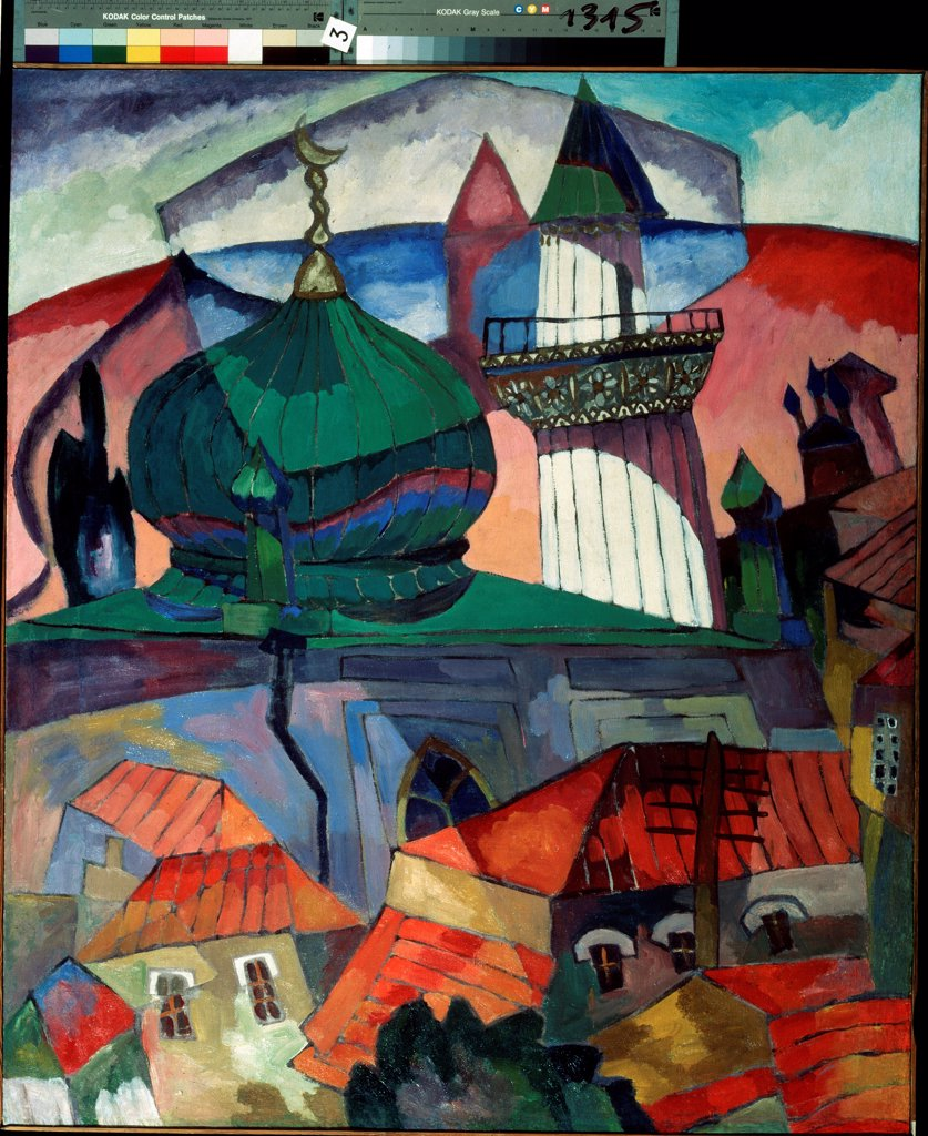 Stock Photo: 4266-19066 Mosque by Lentulov, Aristarkh Vasilyevich (1882-1943)/ State B. Kustodiev Art Gallery, Astrakhan/ 1916/ Russia/ Oil on canvas/ Russian avant-garde/ 122x106/ Landscape
