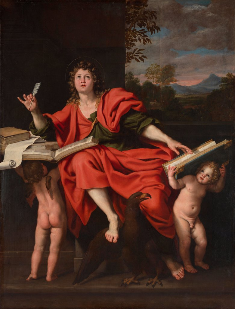 Saint John the Evangelist by Domenichino (1581-1641)/ National Gallery, London/ 1620s/ Italy, Bolognese School/ Oil on canvas/ Baroque/ 259x199,4/ Bible : Stock Photo