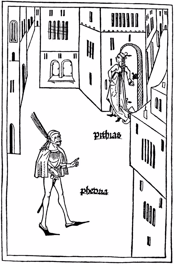 Eunuch by German master, woodcut, 1486, Russia, Moscow, State A. Pushkin Museum of Fine Arts : Stock Photo