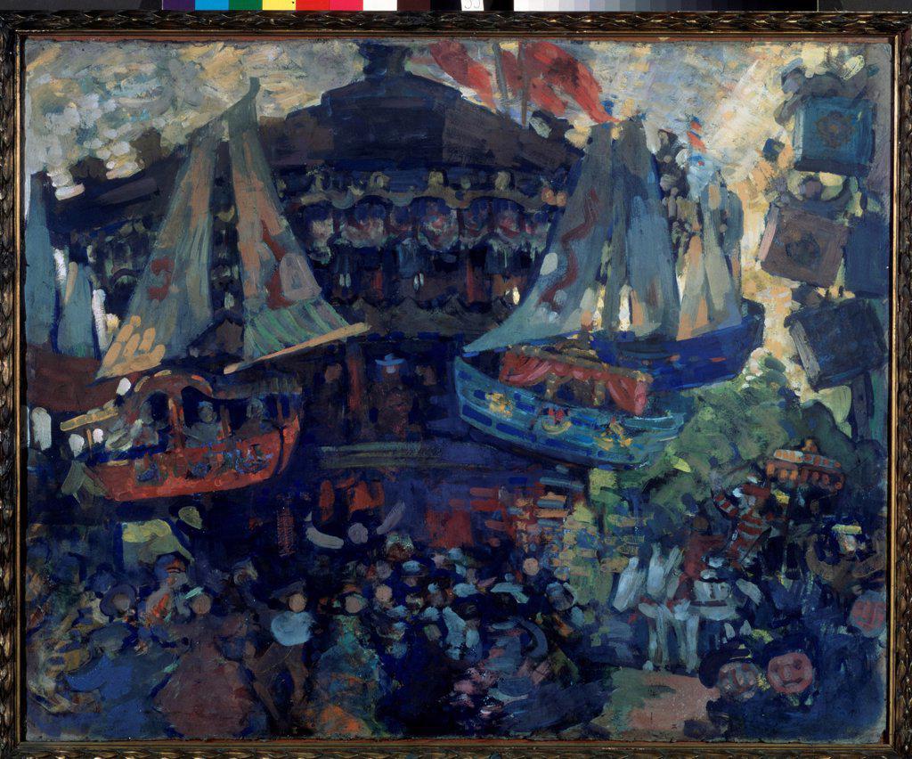 Stock Photo: 4266-19095 Carousel by Sapunov, Nikolai Nikolayevich (1880-1912)/ State Tretyakov Gallery, Moscow/ 1908/ Russia/ Tempera on cardboard/ Symbolism/ 82x100,7/ Genre
