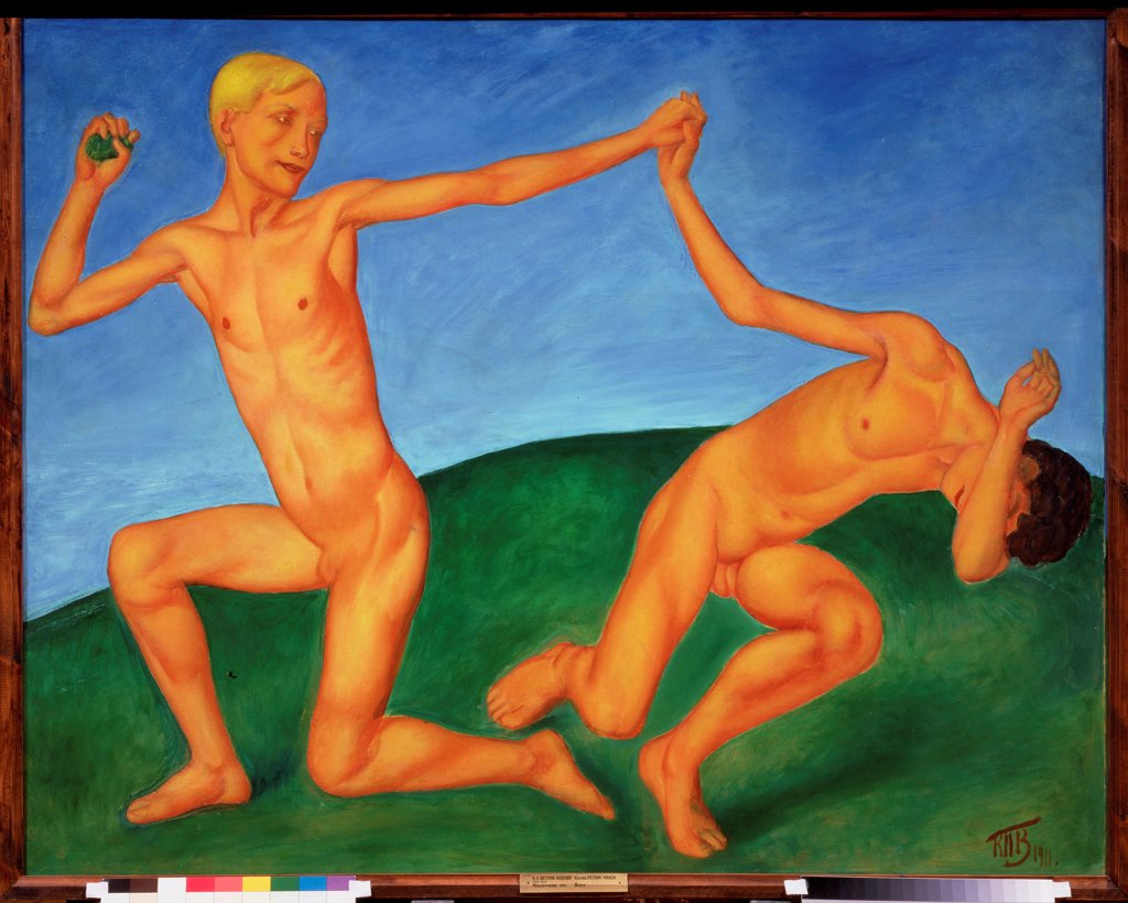 Stock Photo: 4266-19149 Boys at play by Petrov-Vodkin, Kuzma Sergeyevich (1878-1939)/ State Russian Museum, St. Petersburg/ 1911/ Russia/ Oil on canvas/ Russian Painting, End of 19th - Early 20th cen./ 123x157/ Genre