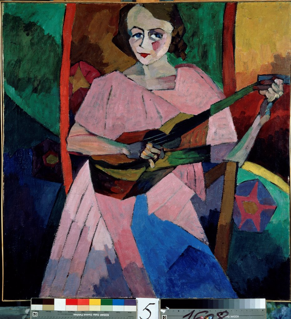 Lady with a guitar by Lentulov, Aristarkh Vasilyevich (1882-1943)/ State Art  Museum of Republic Tatarstan, Kazan/ 1913/ Russia/ Oil on canvas/ Russian avant-garde/ 100x97/ Music, Dance,Genre : Stock Photo