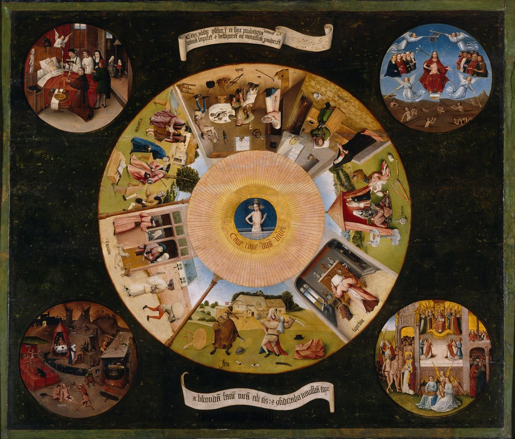 Stock Photo: 4266-19162 The Seven Deadly Sins and the Four Last Things by Bosch, Hieronymus (c. 1450-1516)/ Museo del Prado, Madrid/ 1475-1480/ The Netherlands/ Oil on wood/ Early Netherlandish Art/ 120x150/ Bible,Mythology, Allegory and Literature