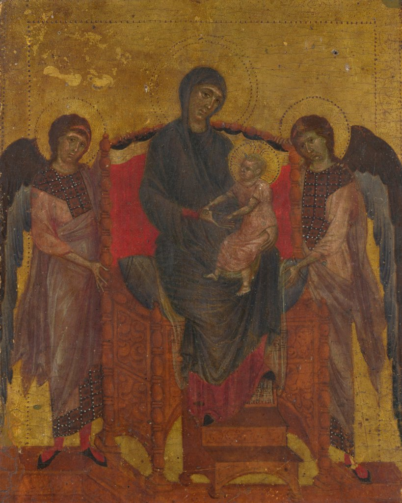 Stock Photo: 4266-19173 The Virgin and Child Enthroned with Two Angels by Cimabue, Giovanni (ca 1240-1302)/ National Gallery, London/ c. 1280/ Italy, Florentine School/ Tempera on panel/ Gothic/ 25,7x20,5/ Bible