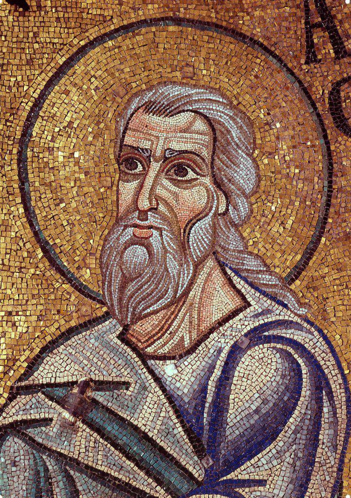 The Prophet Habakkuk (Detail of Interior Mosaics in the St. Mark's Basilica) by Byzantine Master  / Saint Mark's Basilica, Venice/ 12th century/ Byzantium/ Mosaic/ Gothic/ Bible : Stock Photo