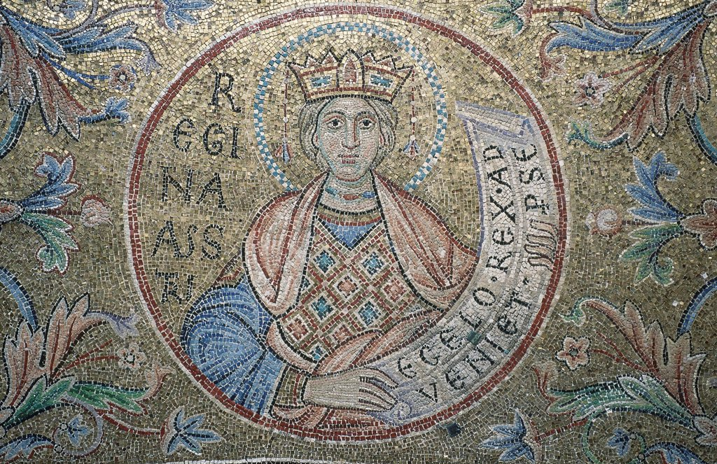 Stock Photo: 4266-19233 The Queen of Sheba (Detail of Interior Mosaics in the St. Mark's Basilica) by Byzantine Master  / Saint Mark's Basilica, Venice/ 13th century/ Byzantium/ Mosaic/ Gothic/ Bible