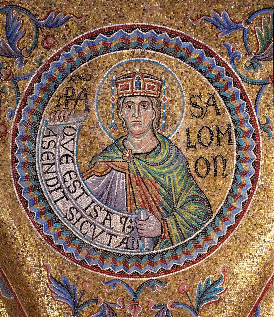 King Solomon (Detail of Interior Mosaics in the St. Mark's Basilica) by Byzantine Master  / Saint Mark's Basilica, Venice/ 13th century/ Byzantium/ Mosaic/ Gothic/ Bible : Stock Photo