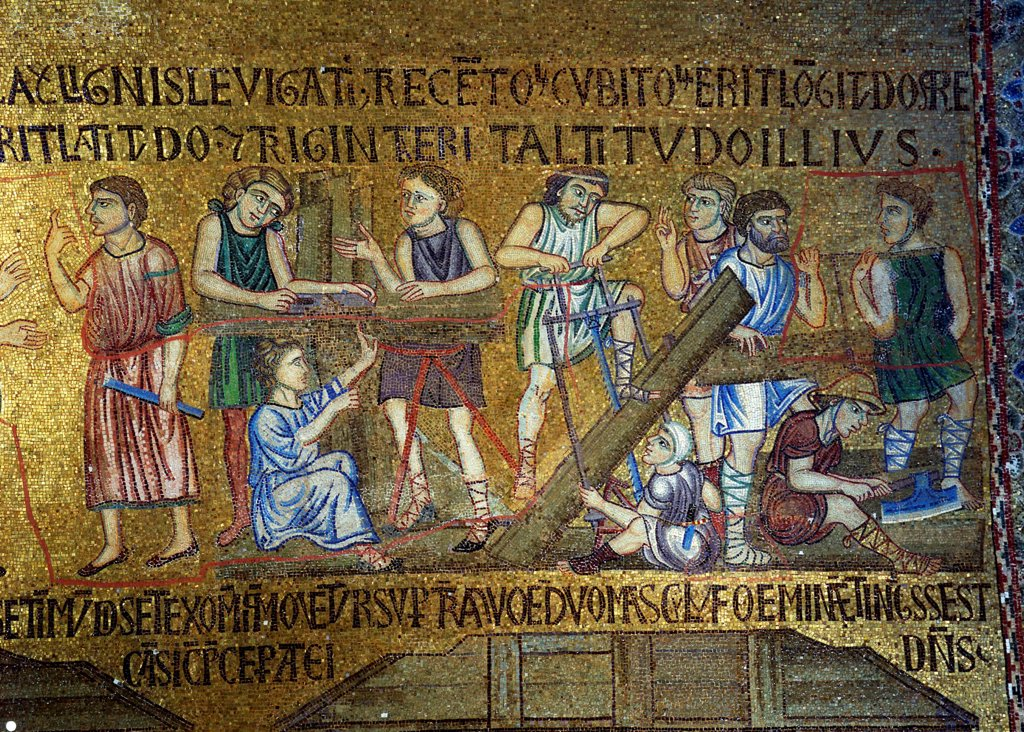 Stock Photo: 4266-19237 Story of Noah: The building of the Ark (Detail of Interior Mosaics in the St. Mark's Basilica) by Byzantine Master  / Saint Mark's Basilica, Venice/ 11th century/ Byzantium/ Mosaic/ Gothic/ Bible