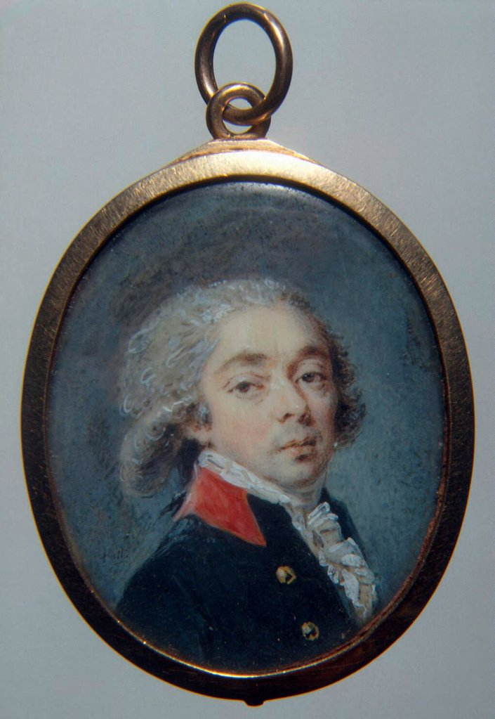 Portrait of Count Ivan Apraxin by Ritt, Augustin Christian (1765-1799)/ State Hermitage, St. Petersburg/ c. 1796/ Austria/ Watercolour, Gouache on horn/ Classicism/ 4,3x3,5/ Portrait : Stock Photo