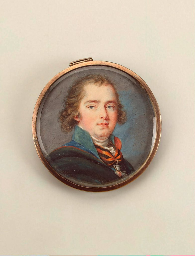 Stock Photo: 4266-19242 Portrait of Count Valerian Aleksandrovich Zubov (1771-1804) by Ritt, Augustin Christian (1765-1799)/ State Hermitage, St. Petersburg/ 1794/ Austria/ Watercolour, Gouache on horn/ Classicism/ 5,3x5,3/ Portrait