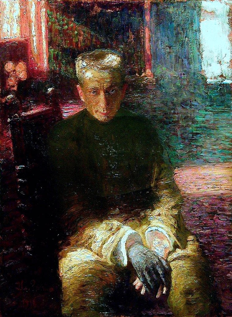 Portrait of Alexander Kerensky (1881-1970) by Repin, Ilya Yefimovich (1844-1930)/ Private Collection/ 1918/ Russia/ Oil on Linoleum/ Realism/ 116,2x85/ Portrait : Stock Photo