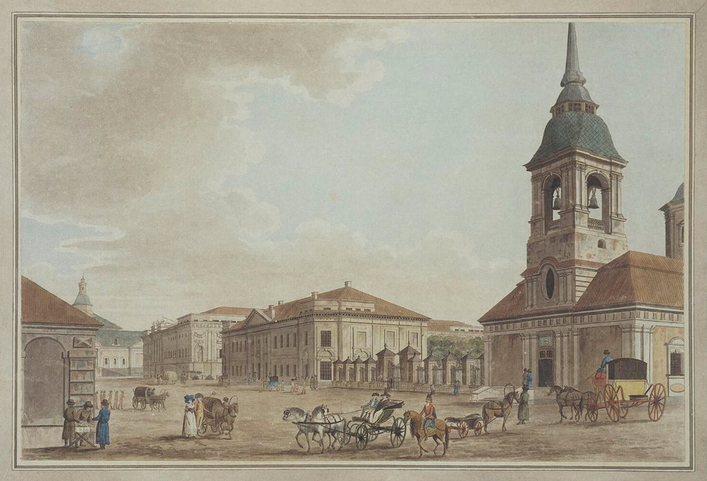 Stock Photo: 4266-19255 Liteyny Avenue in St. Petersburg by Malton, Thomas, the Elder (1726_1801)/ State Hermitage, St. Petersburg/ 1790/ England/ Etching, watercolour/ Classicism/ 34,5x51,7/ Architecture, Interior,Landscape