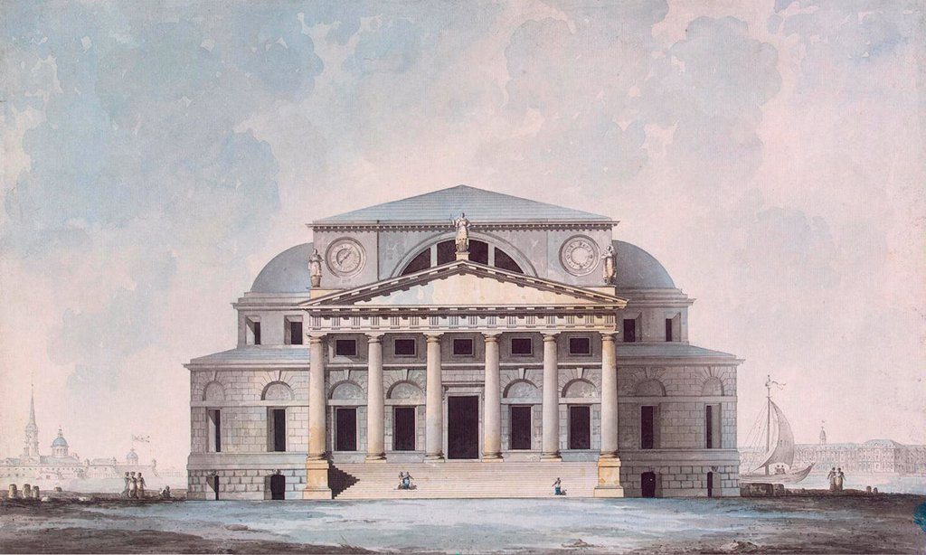 Stock Photo: 4266-19261 Facade of the Stock Exchange Building in Saint Petersburg by Quarenghi, Giacomo Antonio Domenico (1744-1817)/ State Hermitage, St. Petersburg/ 1783/ Italy/ Watercolour and ink on paper/ Classicism/ 35x58/ Architecture, Interior