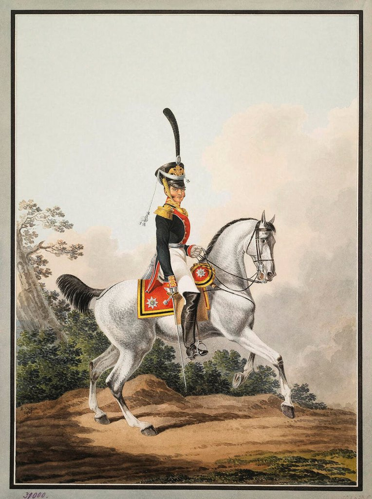 Stock Photo: 4266-19272 Field-Officer of the Preobrazhensky Regiment on Horseback by Shiflard, Samuel (active Early 19th cen.)/ State Hermitage, St. Petersburg/ Early 19th cen./ Russia/ Watercolour on paper/ Classicism/ 50,3x38,5/ Genre,History