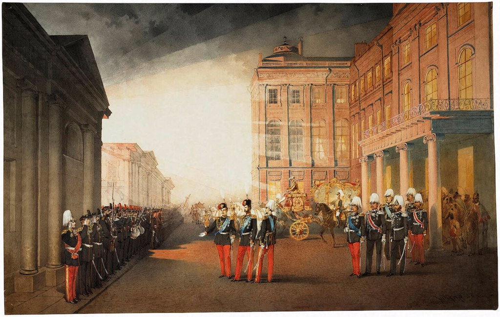 Parade in front of the Anichkov Palace on 26 February 1870 by Zichy, Mihaly (1827-1906)/ State Hermitage, St. Petersburg/ 1870/ Hungary/ Watercolour, Gouache on Paper/ Academic art/ 54x87/ Architecture, Interior,Genre,History : Stock Photo