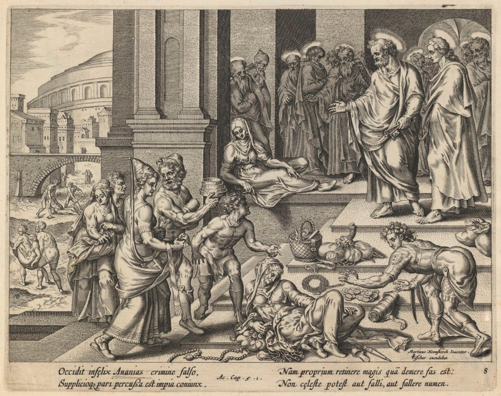 Stock Photo: 4266-19286 The Parable of Ananias and Sapphira by Visscher, Jan Claesz (c. 1550-1612)/ Private Collection/ Early 17th cen./ Holland/ Etching/ Baroque/ 20,9x26,4/ Bible,Mythology, Allegory and Literature