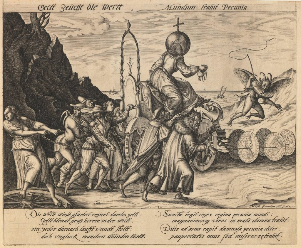 Stock Photo: 4266-19293 Money rule the world by Greuter, Mathias (1564-1638)/ Private Collection/ 1589/ Germany/ Etching/ Baroque/ 23x27,8/ Mythology, Allegory and Literature