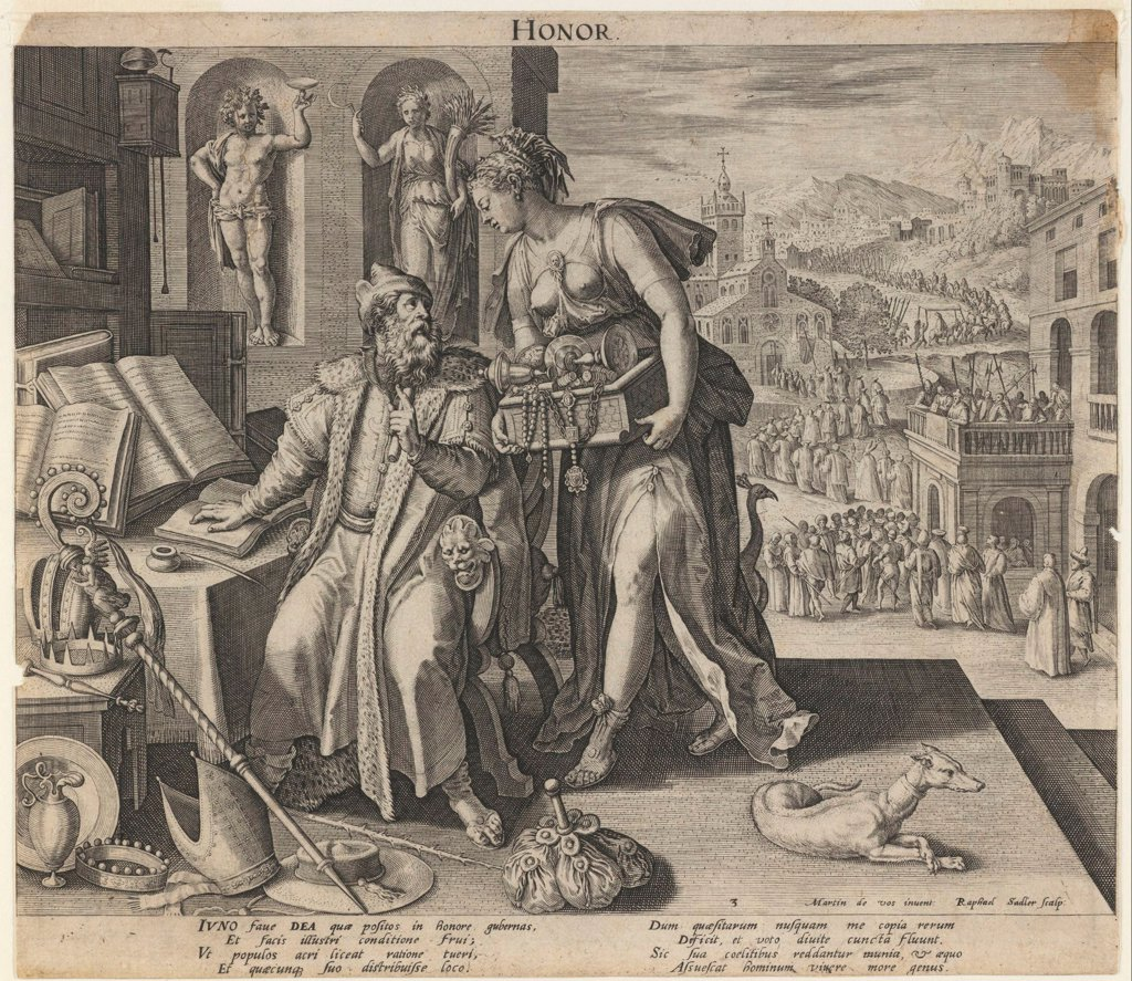 Honor by Sadeler, Raphael, the Elder (1560-1628)/ Private Collection/ 1591/ Flanders/ Etching/ Baroque/ 22x25/ Mythology, Allegory and Literature : Stock Photo