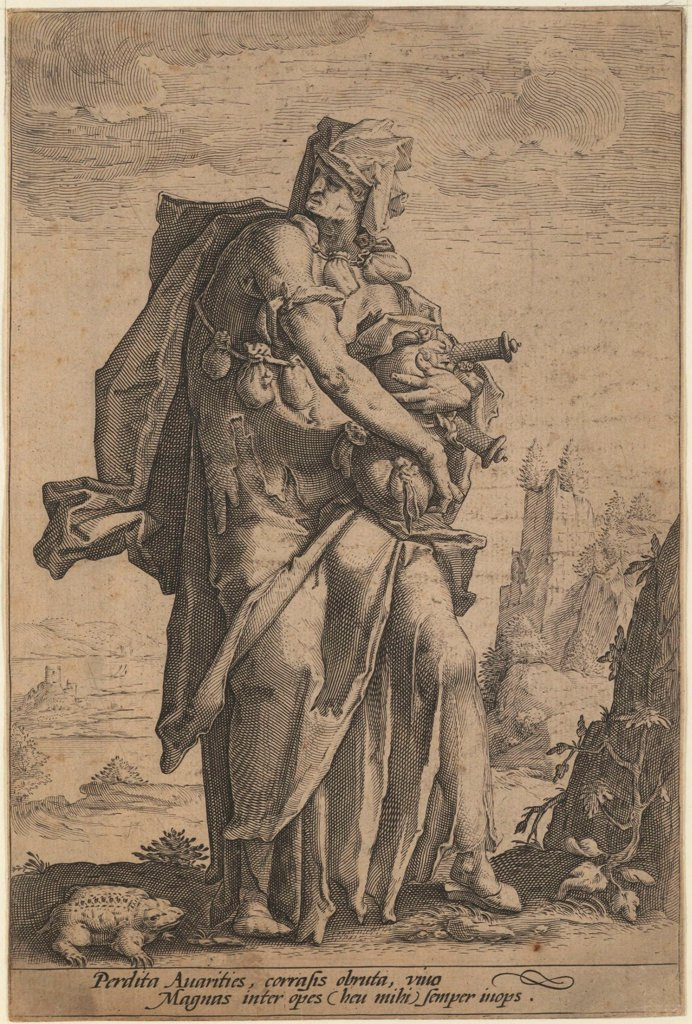 Stock Photo: 4266-19297 Avarice by Anonymous  / Private Collection/ ca. 1600/ The Netherlands/ Etching/ Baroque/ 21x14/ Mythology, Allegory and Literature