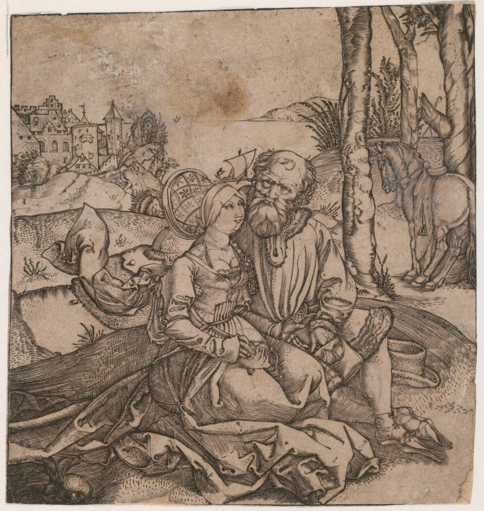 Stock Photo: 4266-19311 The ill-assorted Couple by Durer, Albrecht (1471-1528)/ Private Collection/ c. 1495/ Germany/ Copper engraving/ Medieval art/ 14,3x13,5/ Genre