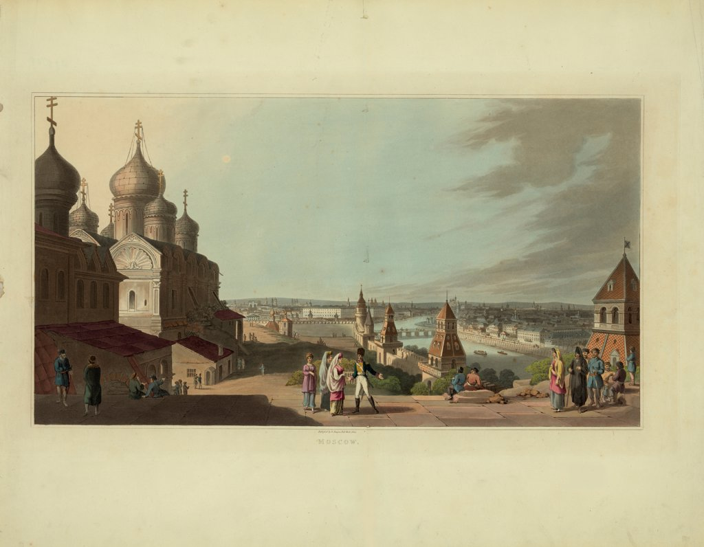 Moscow by Anonymous  / Russian State Library, Moscow/ 1814/ France/ Lithograph, watercolour/ Classicism/ Architecture, Interior,Landscape : Stock Photo