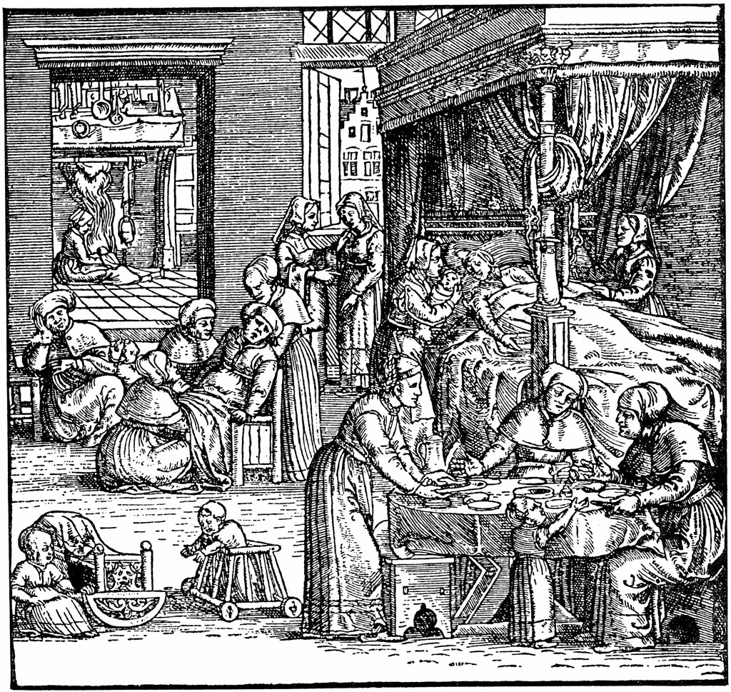 Stock Photo: 4266-1934 History of medicine by German master, woodcut, Mid of 16th century, Private Collection