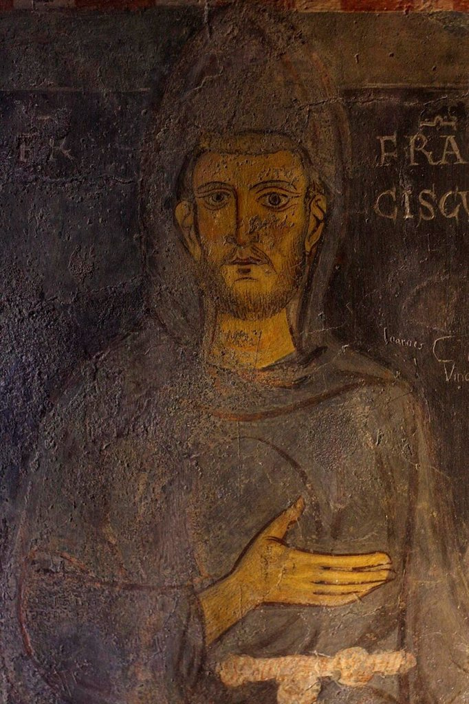 Stock Photo: 4266-19346 Saint Francis of Assisi (Detail of his oldest portrait) by Anonymous  / Abbazia di Santa Scolastica, Subiaco/ 13th century/ Italy, Roman School/ Wall painting on plaster/ Gothic/ Portrait,Bible
