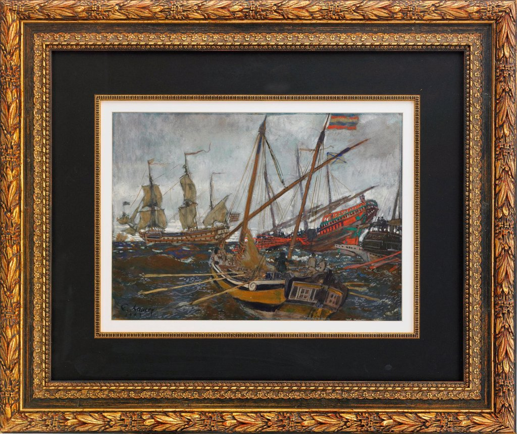 Stock Photo: 4266-19393 Ships at the Time of Peter I by Lanceray (Lansere), Evgeny Evgenyevich (1875-1946)/ Private Collection/ 1909/ Russia/ Watercolour, Gouache on cardboard/ Russian Painting, End of 19th - Early 20th cen./ 30,5x42/ History