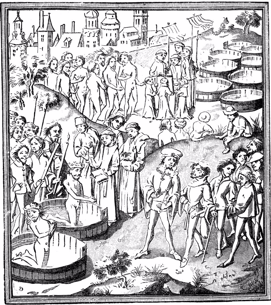 Baptism scene by unknown artist, Woodcut, circa 1460, Belgium, Brussels, Royal Library of Belgium : Stock Photo