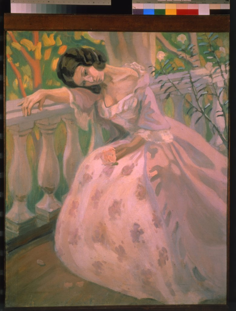 Stock Photo: 4266-1947 Woman on the Verandah by Viktor Elpidiforovich Borisov-Musatov, Tempera on canvas, 1900, 1870-1905, Private Collection, 97x81