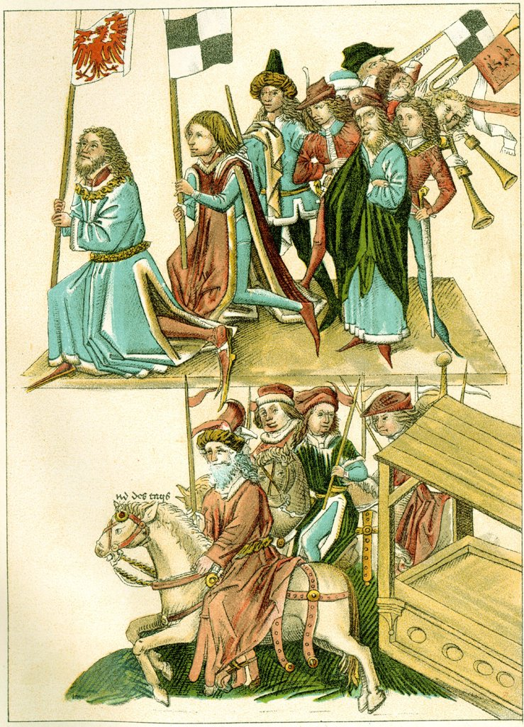 Stock Photo: 4266-1951 Illustration from manuscript by unknown artist, color lithograph, circa 1440, Private collection