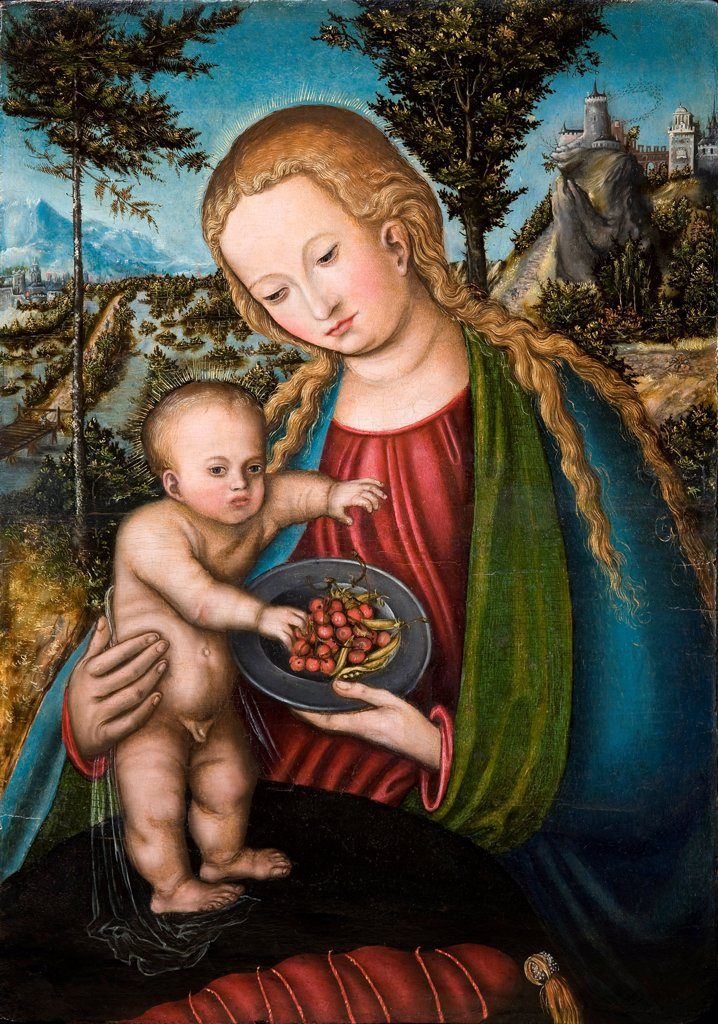 Virgin with Cherries by Cranach, Lucas, the Elder (1472-1553)/ Private Collection/ ca 1506/ Germany/ Oil on wood/ Renaissance/ 39,5x27,5/ Bible : Stock Photo