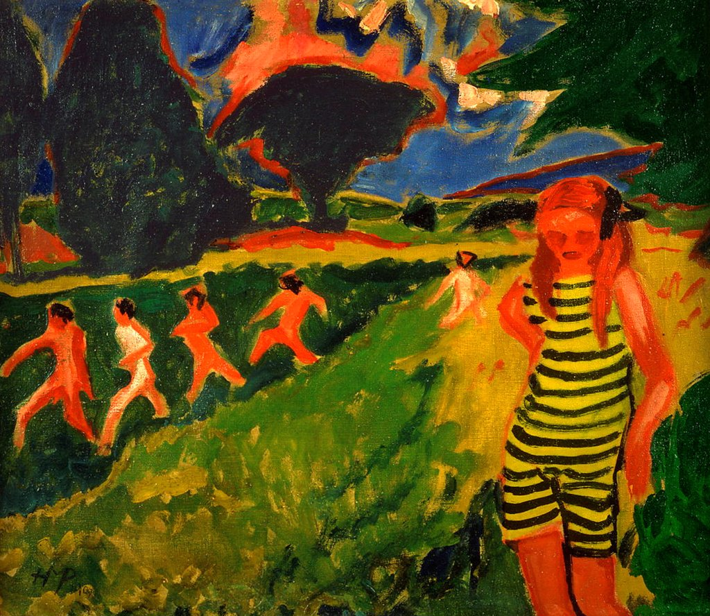 Stock Photo: 4266-19527 The black-and-yellow striped bathing suit by Pechstein, Hermann Max (1881-1955)/ Brucke-Museum Berlin/ 1909/ Germany/ Oil on canvas/ Expressionism/ 68x78/ Genre