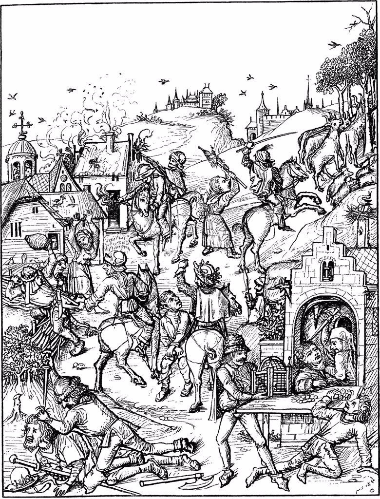 Stock Photo: 4266-1959 Medieval urban scene by Master of the Housebook, Woodcut, circa 1480, between 1470 and 1505, Private Collection
