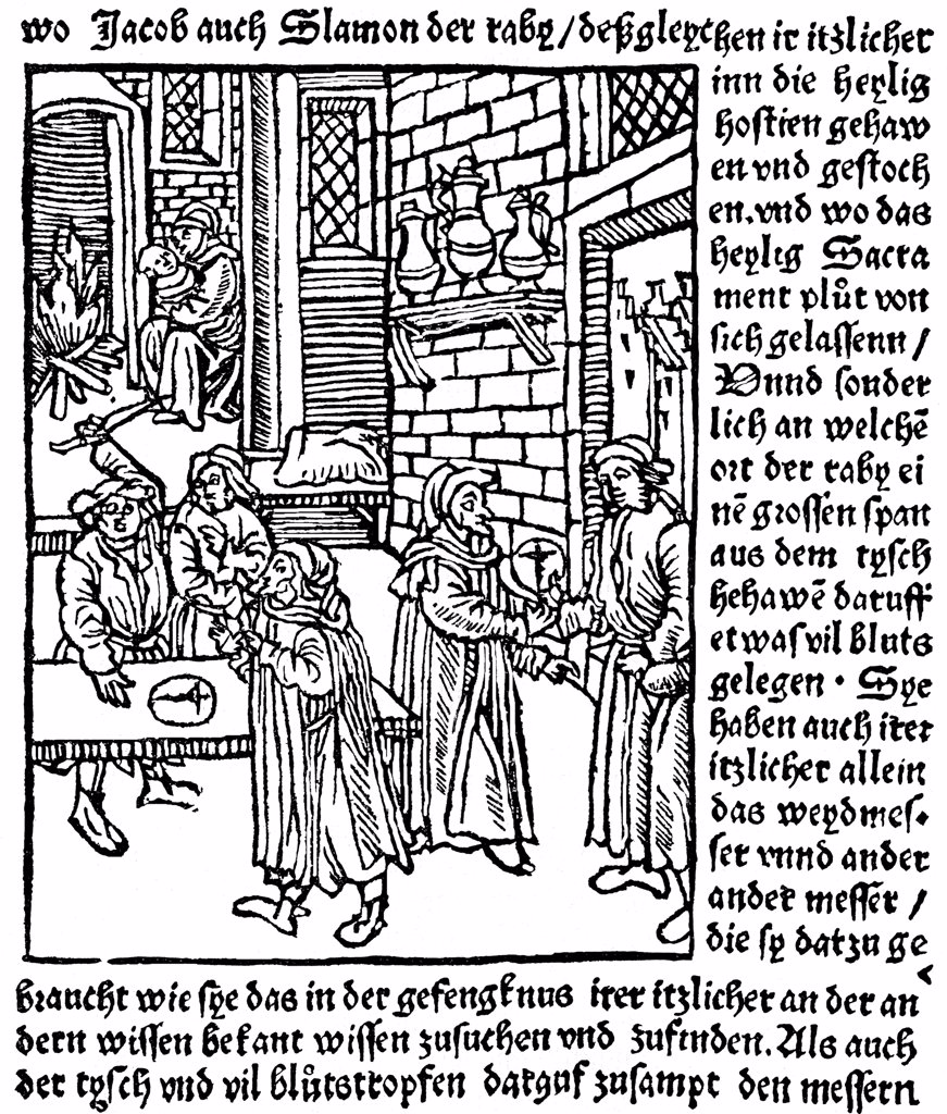 Medieval urban scene by German master, Woodcut, 1511, Private Collection : Stock Photo
