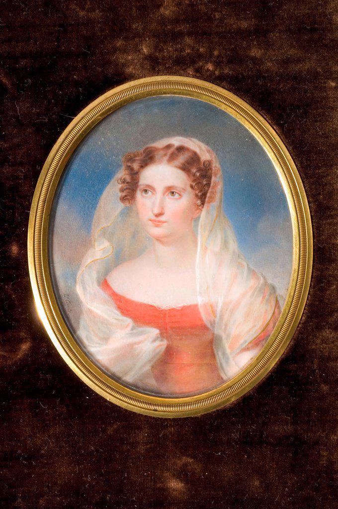 Stock Photo: 4266-19650 Portrait of Countess Dolly de Ficquelmont (1804-1863) by Comte de Girardin, Alexandre Francois Louis (1777-1848)/ Private Collection/ France/ Watercolour, Gouache on horn/ Classicism/ 10x8/ Portrait