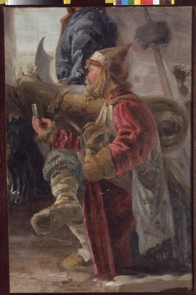 Stock Photo: 4266-19678 Cannoneer by Roerich, Nicholas (1874-1947)/ Private Collection/ 1894/ Russia/ Tempera on canvas/ Symbolism/ 104x69.3/ Genre,History