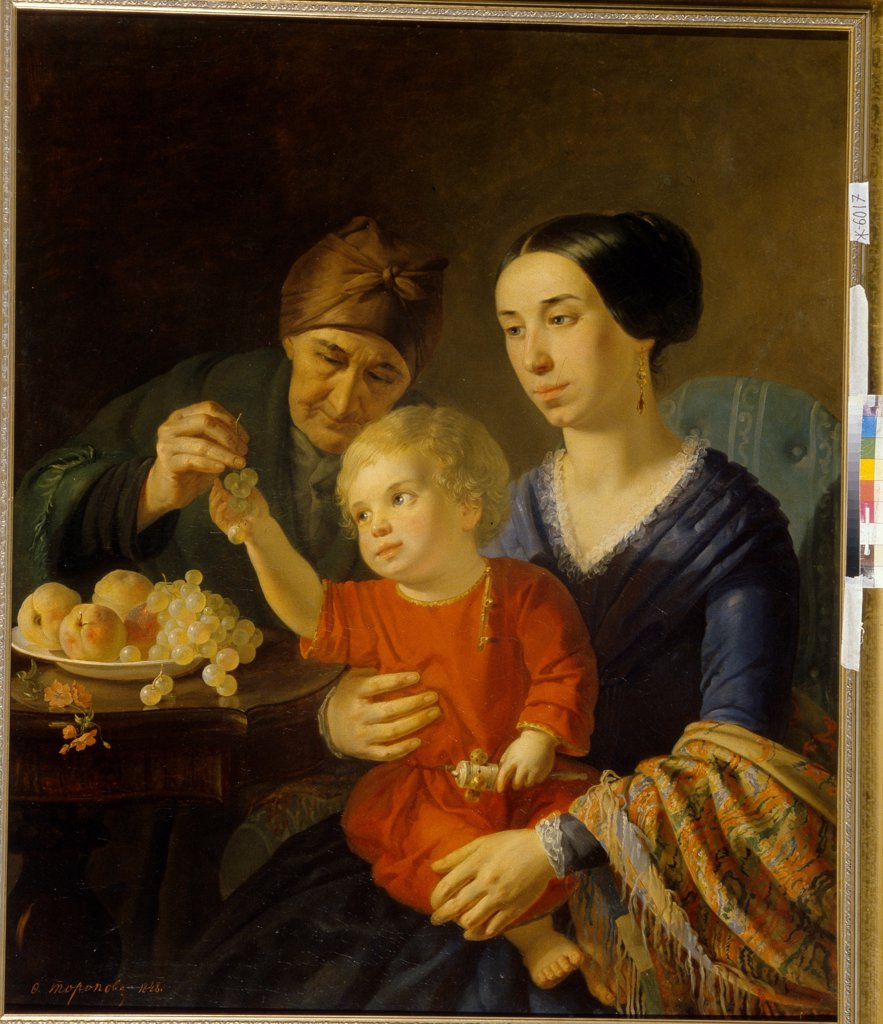 Stock Photo: 4266-19701 Family portrait by Toropov, Foma Gavrilovich (1821-1898)/ State Russian Museum, St. Petersburg/ 1848/ Russia/ Oil on canvas/ Neoclassicism/ 107x88/ Portrait,Genre