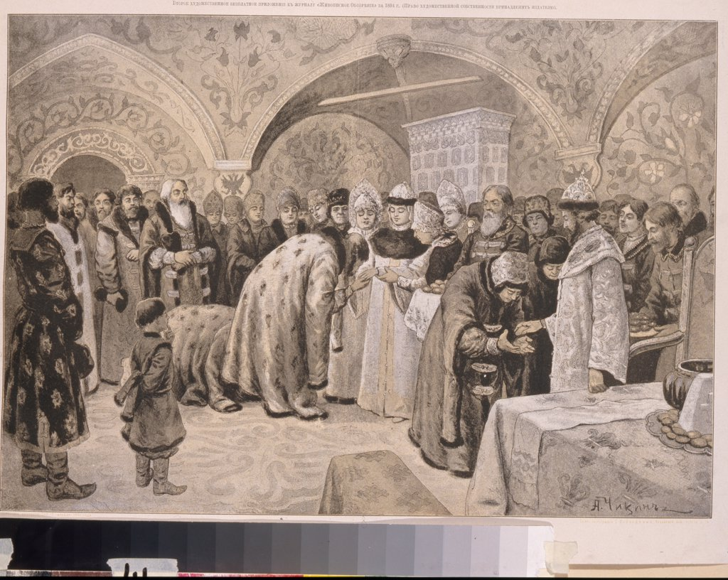 Stock Photo: 4266-19720 Welcome to the Tsarina after the Easter Matins by Chikin, Alexander Andreyevich (1865-1924)/ Russian State Library, Moscow/ Russia/ Lithograph/ Academic art/ Genre,History