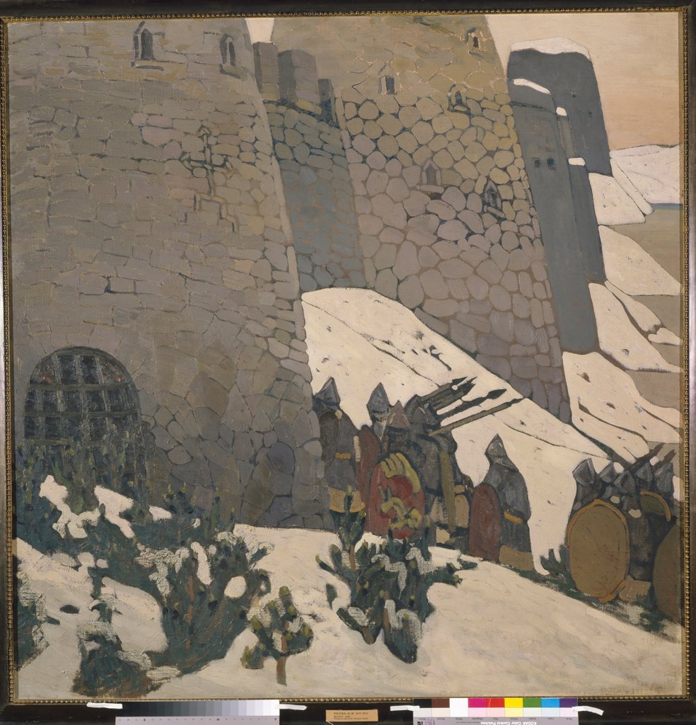 Stock Photo: 4266-19794 The Watch by Roerich, Nicholas (1874-1947)/ State Russian Museum, St. Petersburg/ 1905/ Russia/ Oil on canvas/ Symbolism/ 148x148/ Genre,History