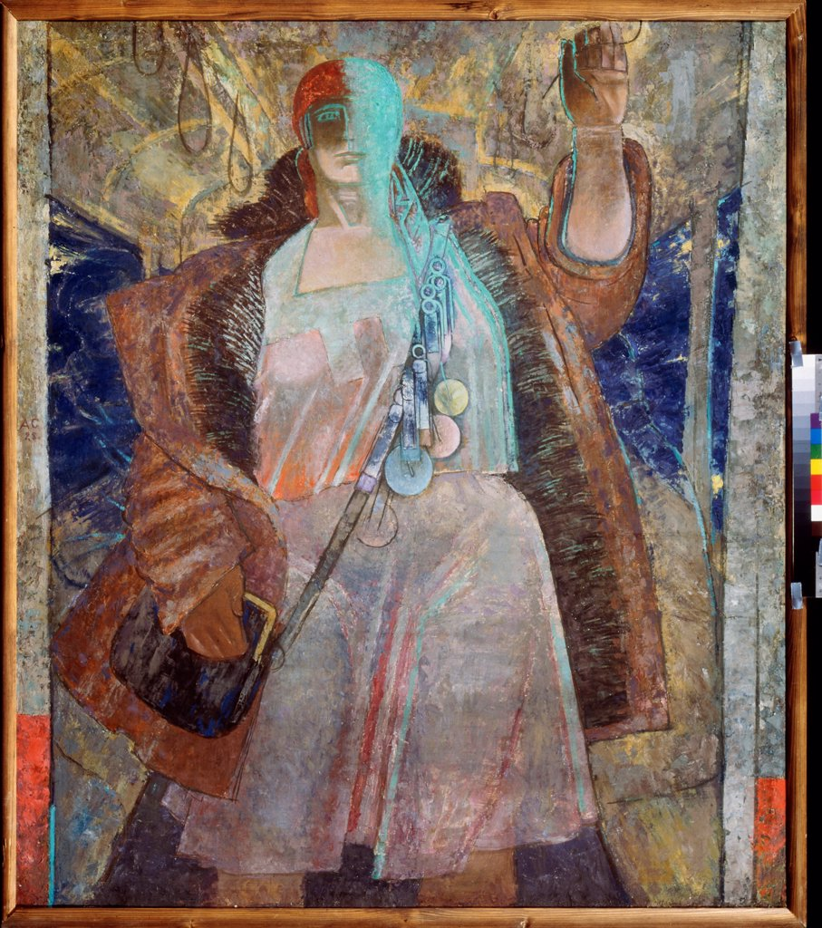 Stock Photo: 4266-19817 A conductress by Samokhvalov, Alexander Nikolayevich (1894-1971)/ State Russian Museum, St. Petersburg/ 1928/ Russia/ Oil on canvas/ Russian avant-garde/ 130x127/ Genre