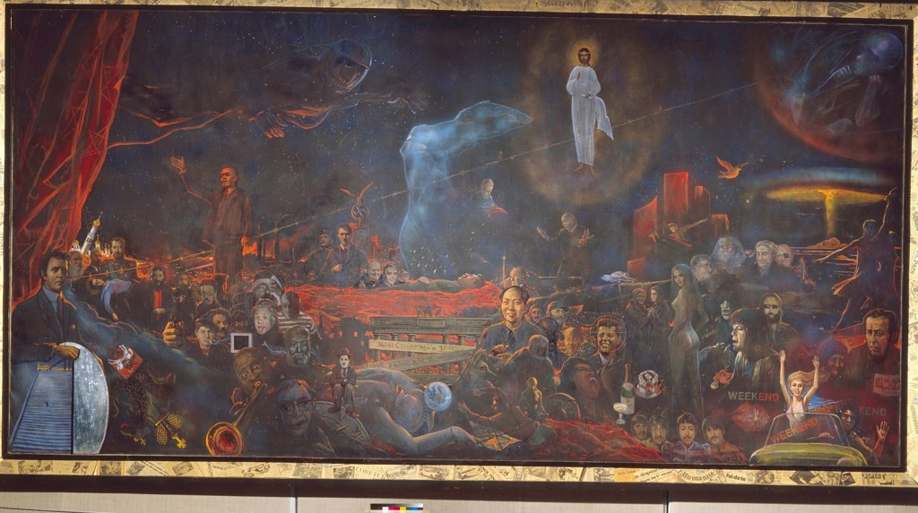 Stock Photo: 4266-19841 Mystery of the Twentieth Century by Glazunov, Ilya Sergeyevich (*1930)/ Private Collection/ 1977/ Russia/ Oil on canvas/ Modern/ 300x600/ Mythology, Allegory and Literature