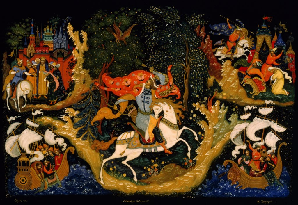 Stock Photo: 4266-19855 Mikhaylo Kazaryanin by Kochupalov, Alexey Dmitryevich (1940-2010)/ Museum of Palekh Russian Lacquer Art, Palekh/ 1977/ Russia, School of Palekh/ lacquer miniature painting on papier-mache/ Folk art/ Mythology, Allegory and Literature
