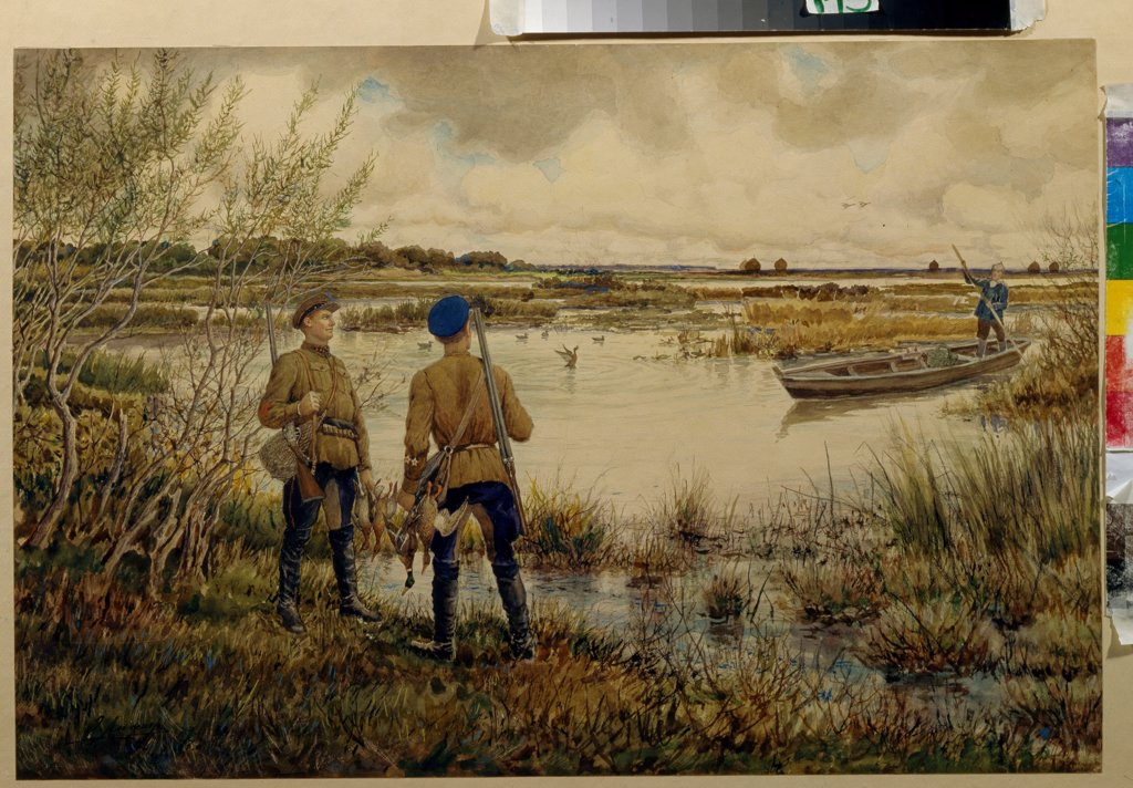 Stock Photo: 4266-19865 Returning from the hunting by Lissner, Ernest Ernestovich (1874-1941)/ State Central Military Museum, Moscow/ 1937/ Russia/ Watercolour on paper/ Soviet Art/ Genre